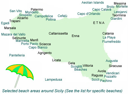 Map of beaches around Sicily.