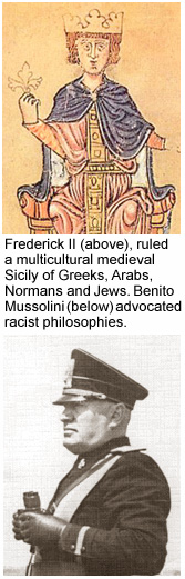 Click on an image to read about the influence of Frederick II or Mussolini on Sicilian history.