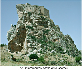 Feudal stronghold in the Sicanian Mountains: Mussomeli Castle.