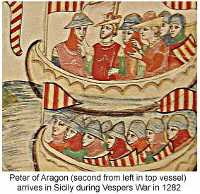King Peter arrives in Sicily.