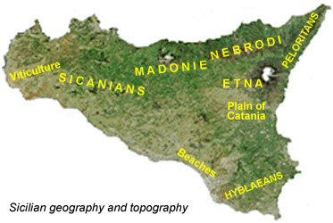 Topography of Sicily.