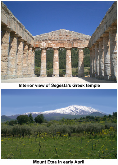 Temple at Segesta, view of Etna.